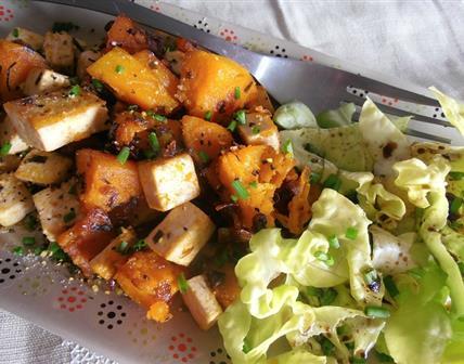 Butternut et tofu poelés au citron