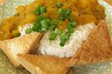 Compotée de butternut et mangue, tofu frit et riz