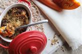 Crumble potiron, carottes, ricotta, noisettes