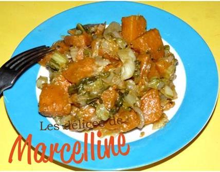 Curry de patates douces aux côtes de chou-fleur