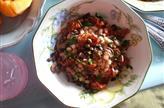 Haricots blancs en salade, champignons grillés et tomates confites