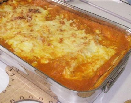 Lasagne au poulet, sauce aux carottes