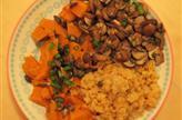 Lentilles, potimarron et champignons
