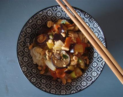 Nouilles asiatiques aux légumes gingembre - citronnelle