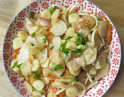 Nouilles udon sautées aux navets, carottes et jeunes oignons
