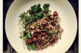 Taboulé d'épeautre, champignons, noisettes et cresson