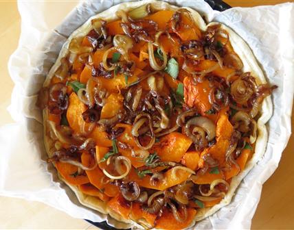 Tarte butternut et oignons caramélisés
